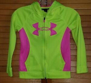 Girls Youth Under Armour Full Zip Hoodie Bright Yellow Pink 6X