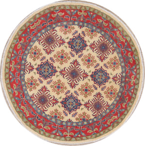 Geometric 5 ft IVORY Round Super Kazak Area Rug Hand-Knotted Oriental Wool 5'x5'