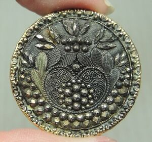LACY BLACK GLASS IN BRASS BUTTON ~ METAL