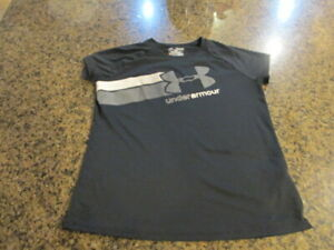 Under Armour Shirt YXL XLarge Youth loose black Heat Gear Logo UA girl's boys $13.00