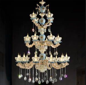 Modern LED K9Crystal Glass Zinc alloy Stair Chandelier Restaurant Ceiling Light