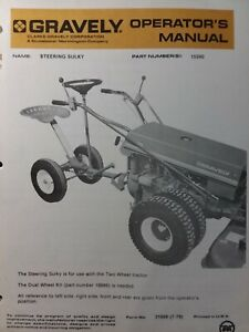 Gravely Walk-Behind Garden Tractor Steering Sulky 15590 Owner & Parts Manual