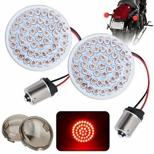 LED 1156 Turn Signal Light w/Smoke Lens Cover For Harley Road King Electra Glide