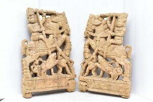 pair India Figure W horses Carved Wood Wall Art Decor Panels Set of 2 relief