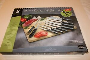 Gourmet Traditions 10 PC Kitchen Knife Set NOS Includes Wood Cutting Board