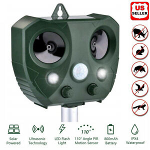 Upgraded Solar Ultrasonic Animal Repellent Dog Cat Skunk Deer Raccoon For Garden