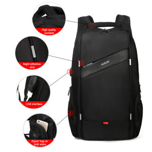 Anti-Theft Mens USB Charging Backpack Laptop Travel Business Notebook School Bag