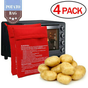 Baked Potato Bag Express Microwave Cooker 4 Minutes Fast Reusable Washable 4 Pcs