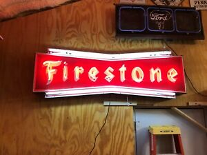 WOW Vintage FIRESTONE Embossed BOWTIE Painted NEON Sign Gas Oil Mancave Tire OLD