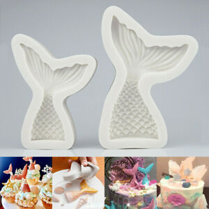 US 3D Mermaid Tail Silicone Fondant Cake Mould Chocolate Sugarcraft Mold DIY