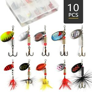 Magreel Spinner Baits Fishing Lures Kit for Trout Bass Salmon with Tackl... New