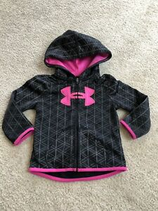 under armour Infant Girls 18M Black Pink Zip Up Hoodie Sweatshirt VEUC