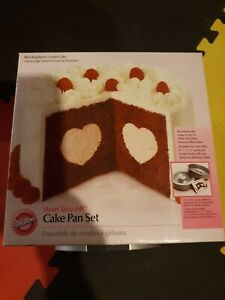 Wilton Heart Tasty-Fill Cake Pan Set non-stick recipe book included NEW