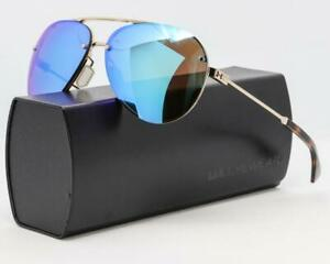 NEW UNDER ARMOUR DOUBLE DOWN SUNGLASSES UA Shiny Gold  Blue Mirror lens