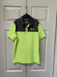 Boys Under Armour Polo Golf Shirt Gray Lime Wornx1 Dress EUC M 1012 Medium