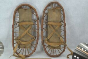 snow shoes antique  small bear paw Army military dated 1943 WWII bent wood