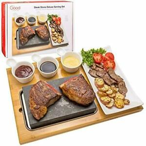 Cooking Stone- Complete Set Lava Hot Steak Stone Plate Tabletop Grill Cold Lava