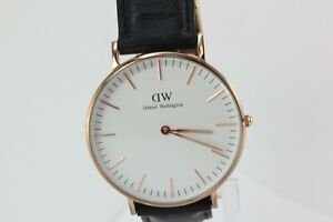 Daniel Wellington White Dial Black Leather Band Mens Watch FREE SHIPPING!