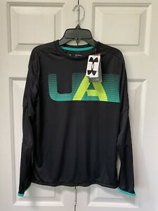 Boys Under Armour XL LS Shirt New Black Fall NWT Green Lime Heat Gear Winter
