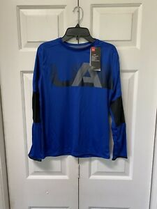 Boys Under Armour LS Shirt New Fall NWT Black Blue Heat Gear Winter L 1416