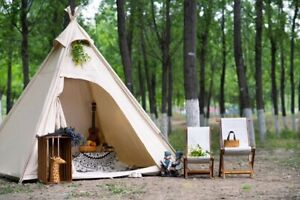 US Ship Oudoor Canvas Camping Pyramid  Adult Indian Teepee Tent for 2~3 Person