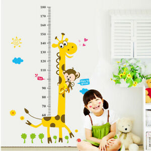 Removable Height Chart Measure Wall Sticker Giraffe Decal for Kids Baby US