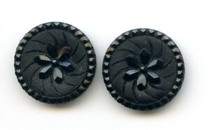PAIR of AWESOME BLACK GLASS buttons--LACY  DESIGN--just shy of 1 18