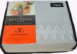 JILL ROSENWALD Plimpton Flame Embroidered Pearl Grey 3PC TWIN SHEET SET COTTON