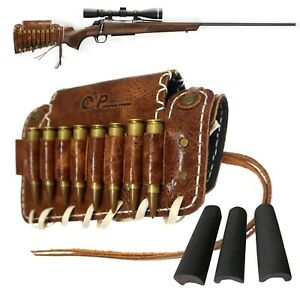Adjustable Rifle Buttstock Leather Ammo Shell Holder with 3X Cheek Rest Cushion