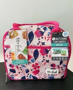 Fit + Fresh Insulated Lunch Tote Sandwich Container Kit Pink Blue Floral Bag NWT