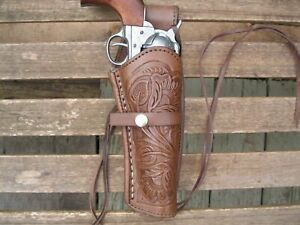 Western Express - Right Handed - Brown Tooled Leather Gun Holster - .22 .38 .45