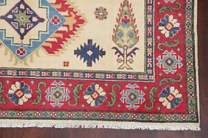 IVORY Geometric Super Kazak Oriental Area Rug Hand-Knotted WOOL Carpet 6'x8'