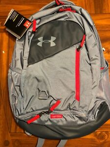 Under Armour UA Hustle 4.0 Backpack Ash Gray  Red Bag Laptop School 1342651-013