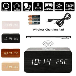 Modern Wooden Digital LED Desk Alarm Clock Thermometer Qi Wireless Charger Wood