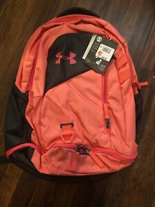 Under Armour UA Hustle 4.0 Backpack Watermelon Jet Gray Laptop School 1342651 $34.88