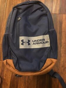 Under Armour Unisex Casual Backpack Blue w Gray Strip Brown Base New w Tags $38.88