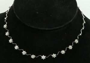 18K white gold elegant 2.50CTW diamond cluster flower formal necklace