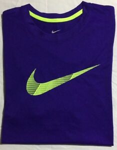 NIKE DRI-FIT SHORT SLEEVE TRAINING SHIRT - Men's XL (Purple  Volt) NWT