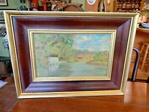 Large Signed Antique Oil Painting in Wonderful Lemon Gold & Natural Wood Frame