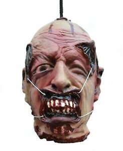 Life Size Halloween Props Zombie Severed Human Head Tortured Wire Mouth