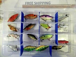 Lot of 16 Lipless Crankbait IN PLANO TACKLE BOX FIND FISHING LURE LOT OF 16 LURE