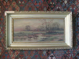 Antique Oil on Canvas of Cows in Pastoral Landscape signed by Nea Oleson 1905 $250.00