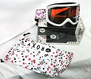 ROXY SKI  SNOWBOARD GOGGLES WHITE Sunset Art Series wMicrofiber cleaning pouch