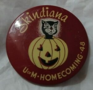 Antique 1940s Skindiana U of M Homecoming '48 Minnesota Button Pin Football