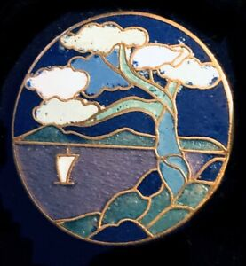Vintage Gold Tone Antique Cloisonné 1940 Enamel Summer Tree Brooch Broach Pin