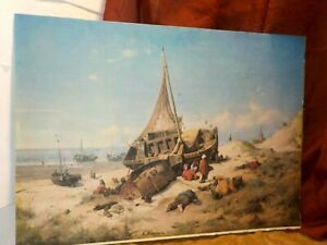 Antique Lithograph Andreas Achenbach Printed in France Large 14x19