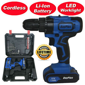 21 Volt drill 2 Speed Electric Cordless Drill Driver with Bits Set amp; Battery