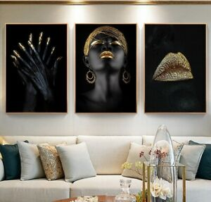 African American Black Girl Abstract Art Wall Decor Painting Canvas oil painting