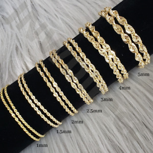 10K Solid Yellow Gold Necklace Rope Chain 16'' 30 1mm 1.5mm 2mm 2.5mm 3mm 4mm