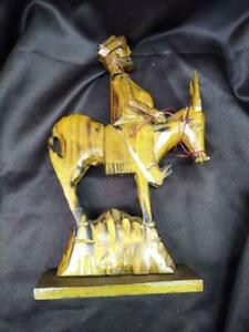 Old Vintage Wood Carving Hand Carved Wooden Horse Pancho Villa Statue Sculpture